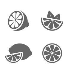 lemon set black icons on white background vector image