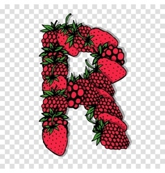 Letter R made from red berries sketch for your vector image