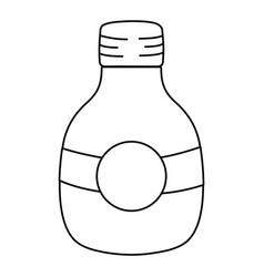 Line middle mason jar with circle sticker vector