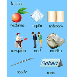 Many words begin with letter N vector image