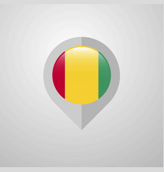 Map navigation pointer with guinea flag design vector