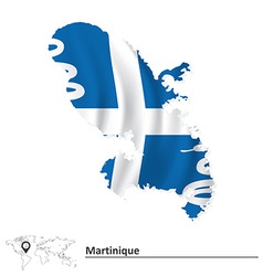 Map of Martinique with flag vector image