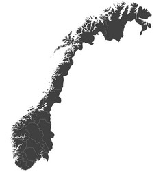 Map of norway split into regions vector