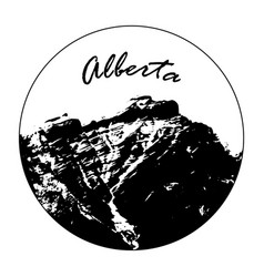 Miss cascade mountain with alberta text vector