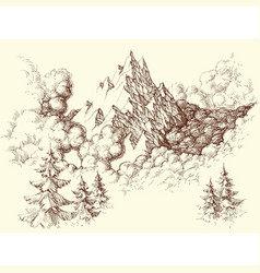 Mountains sketch ranges in the clouds vector