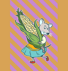 mouse fantastic character with corn cob vector image