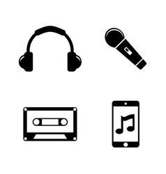 music sound audio simple related icons vector image