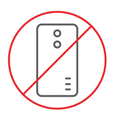 No phone thin line icon prohibited and ban no vector