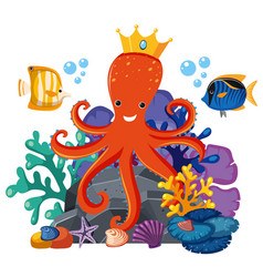 octopus wearing crown underwater vector image vector image