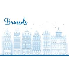 Outline Brussels skyline vector