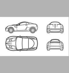 Outline car on a white background line art all vector