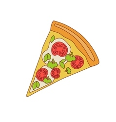 Pizza Slice With Tomato And Broccoli vector