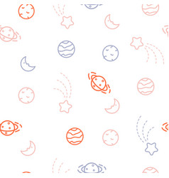 planets doodle icons cosmic seamless vector image