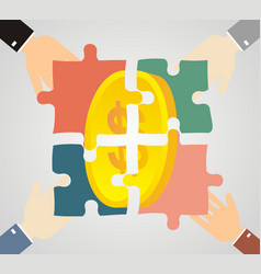 profit from the partnerships human hands holding vector image