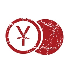 Red grunge yen coin logo vector image