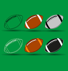 rugby ball - set american football ball vector image