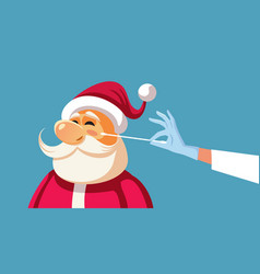 santa claus swabbed for a covid-19 test vector image