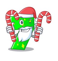 santa with candy number seven isolated on the vector image