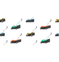 Seamless pattern with lawnmower vector