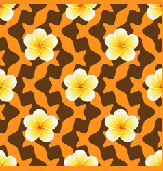 seamless pattern with plumeria flowers on abstract vector image