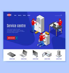 Service centre isometric website vector