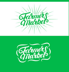 set farmers market hand written lettering logos vector image