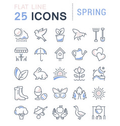 set flat line icons spring vector image