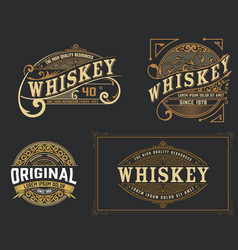 Set of 4 vintage label western style vector