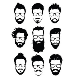 Set of hairstyles for men in glasses collection vector