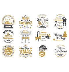 set of merry christmas and happy new year stamp vector image