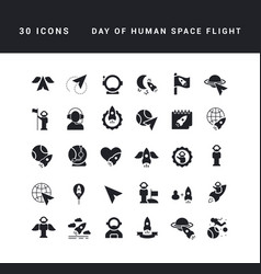 simple icons day human space flight vector image