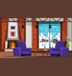 Ski resort hotel room interior vector