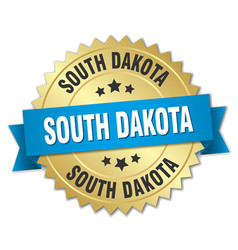 South dakota round golden badge with blue ribbon vector