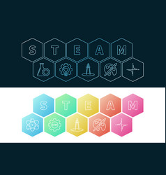 Steam banners set science and education vector