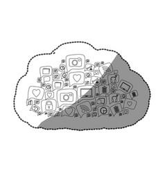 Sticker silhouette pattern cloud shape formed by vector