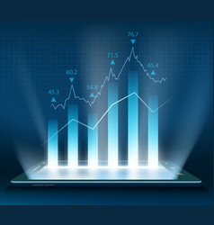 stock market data on the smartphone vector image