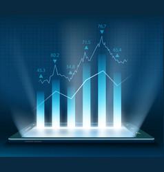 Stock market data on the smartphone vector
