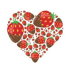 Strawberries in chocolate in heart vector