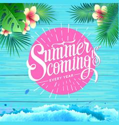 summer poster on blue wooden background vector image