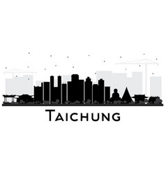 Taichung taiwan city skyline silhouette with vector