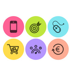 Target correct answer and internet shopping icons vector