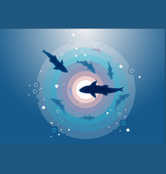 Underwater view top with sharks in color vector