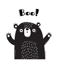 With bear who shouts - boo for vector
