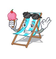 with ice cream beach chair character cartoon vector image