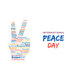 World peace day card of hand sign for freedom vector