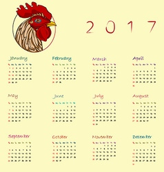 Year of the rooster calendar vector