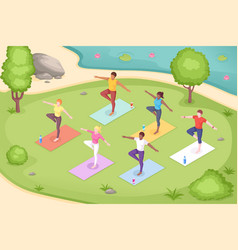 yoga class in outdoor park women pose isometric vector image