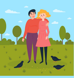 young couple in the park with pigeons around vector image