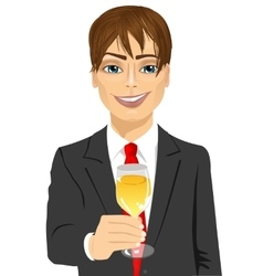 young handsome businessman toasting vector image