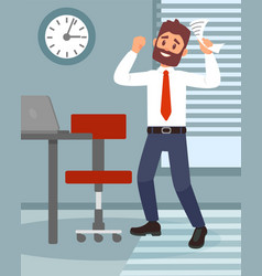 young man happy of career promotion or salary vector image